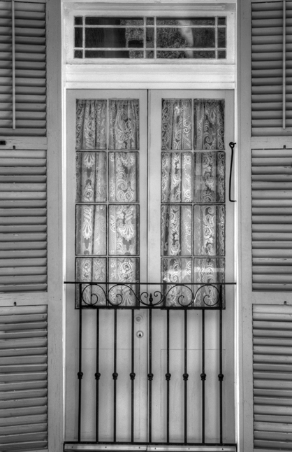 Door in French Quarter hdr black and white