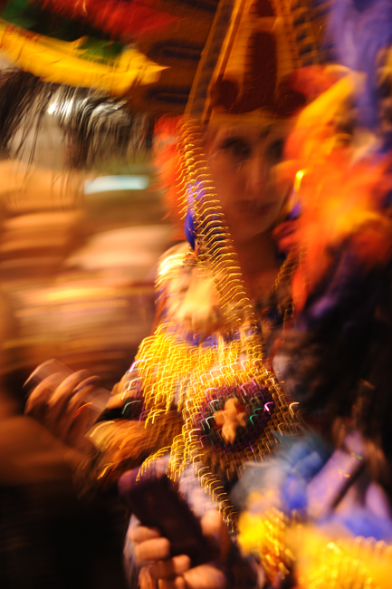 Beads and movement in Krewe Du Vieux parade