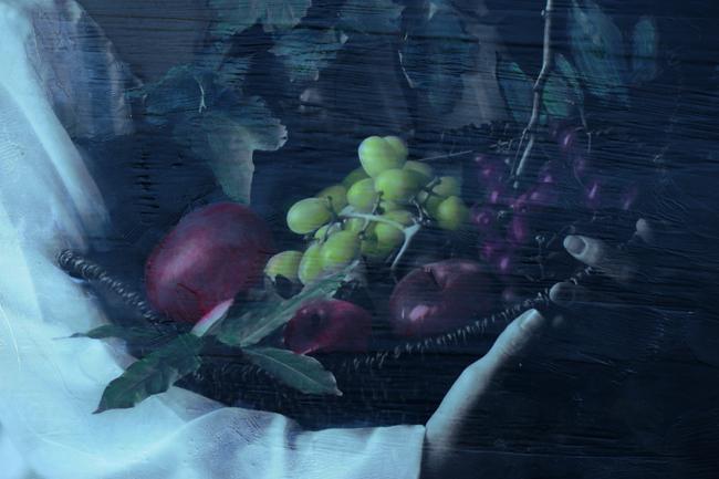 Oil painted fruit on encaustic