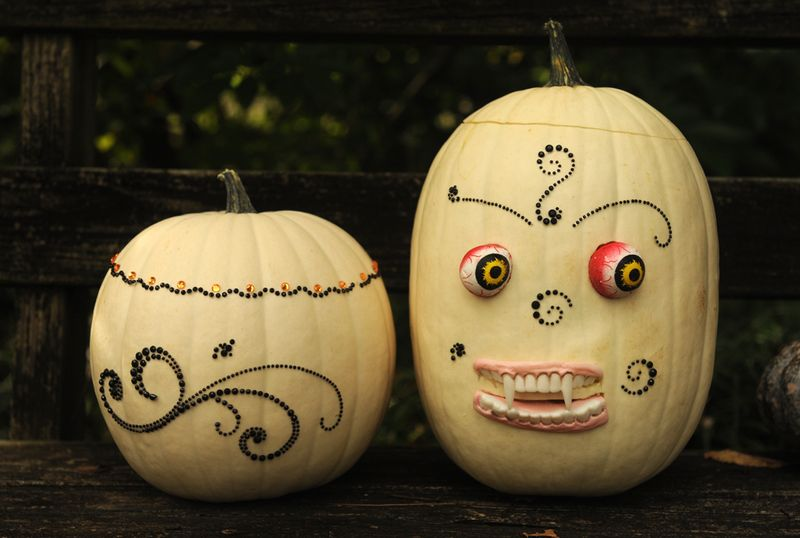 White pumpkin decorating