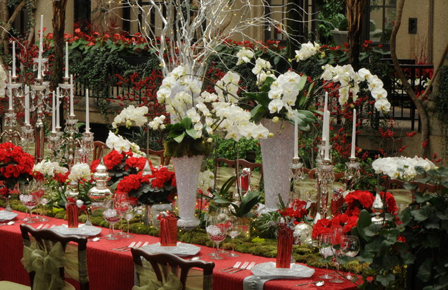 Longwood table display for Christmas