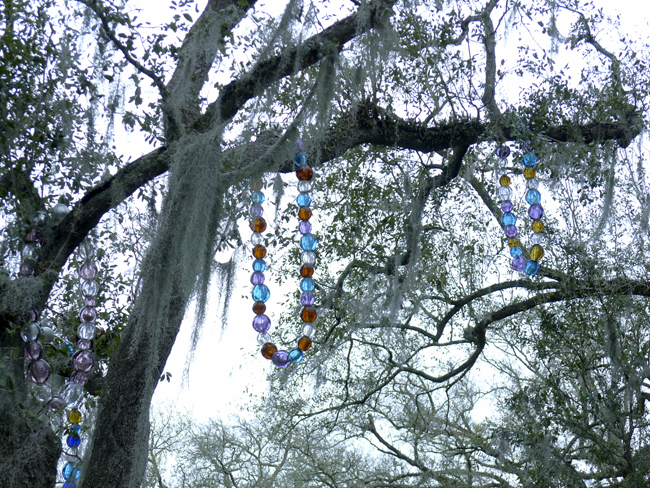 Sculpture garden beads in tree