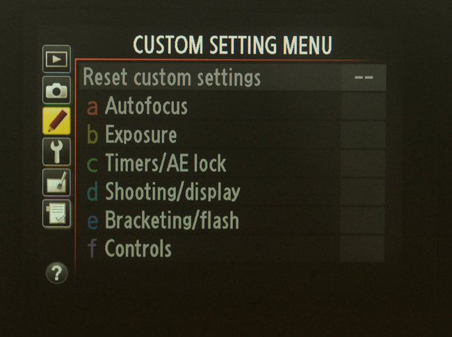 Camera menu display