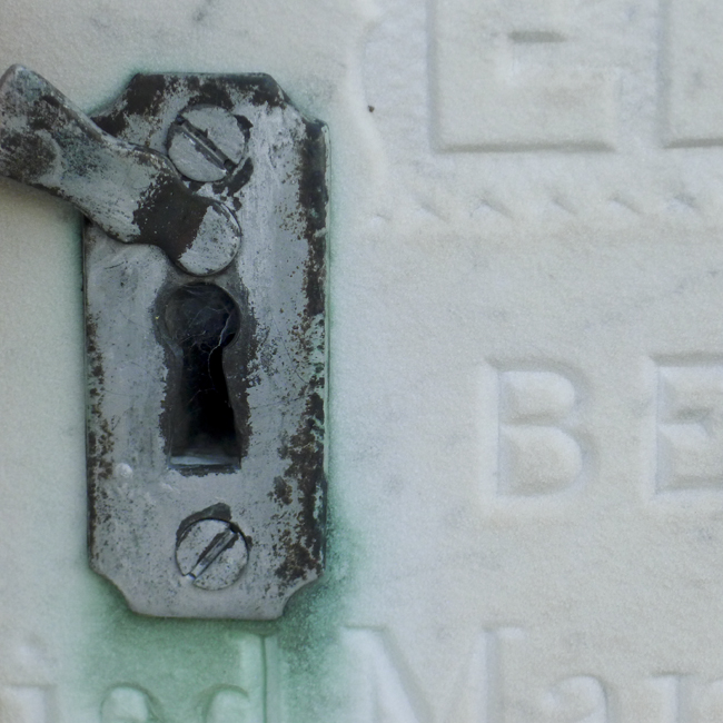 Key hole in cemetery