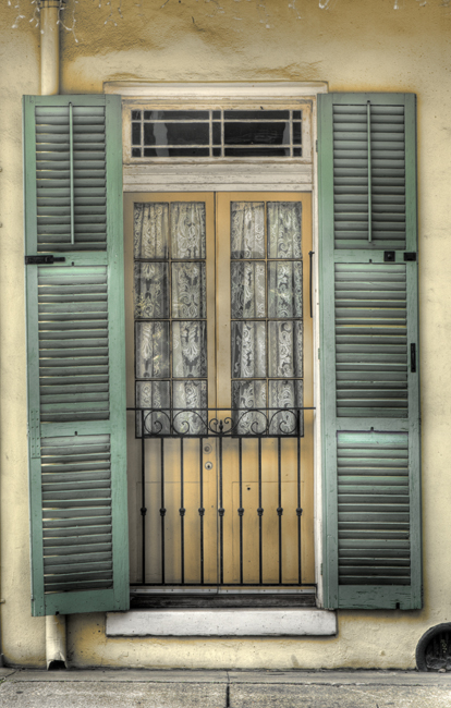Door with lace curtains hdr new orleans with silver