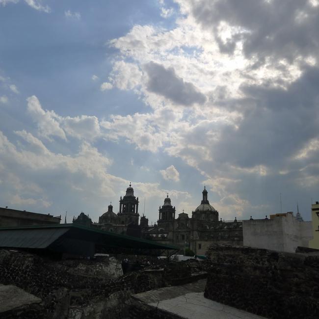 Santo Domingo and ruins of Tenochtitlan