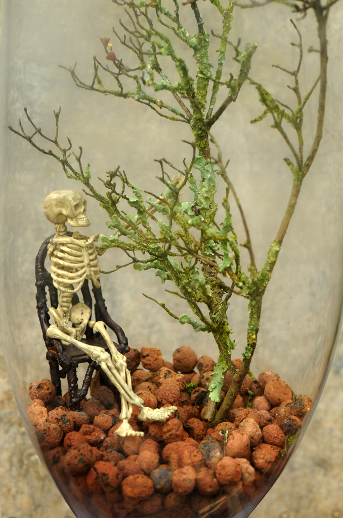 Skeleton in terrarium with lichen branch