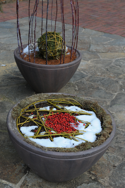 Winter container with cranberries