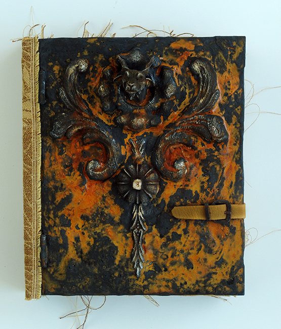 Sketch book cover outside working rust and fabric 1