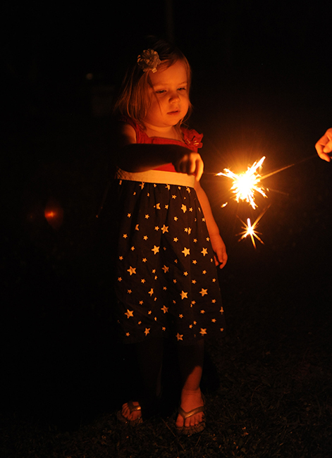 Felicity with sparkler on the fourth
