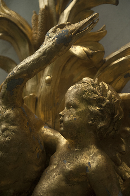 Detail of gold cherub and swan fountain at Hillwood