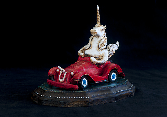 Unicorn driving a jalopy