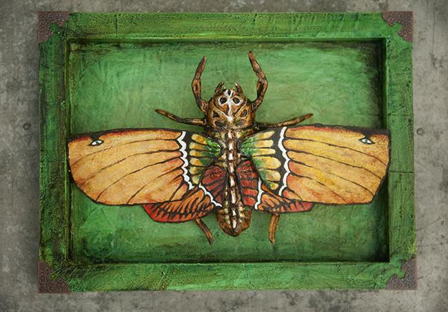 Assemblage death mask moth green orange