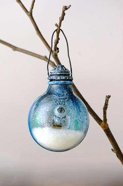 Christmas ornament snow on eyelashes