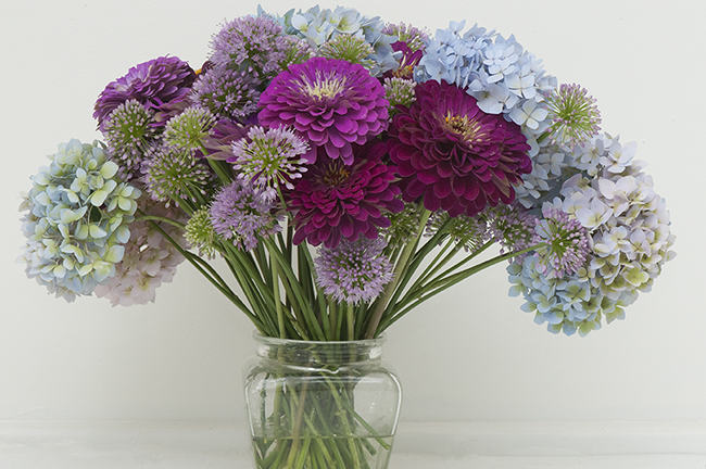 Flower arrangement with zinnia hydrangea and allium