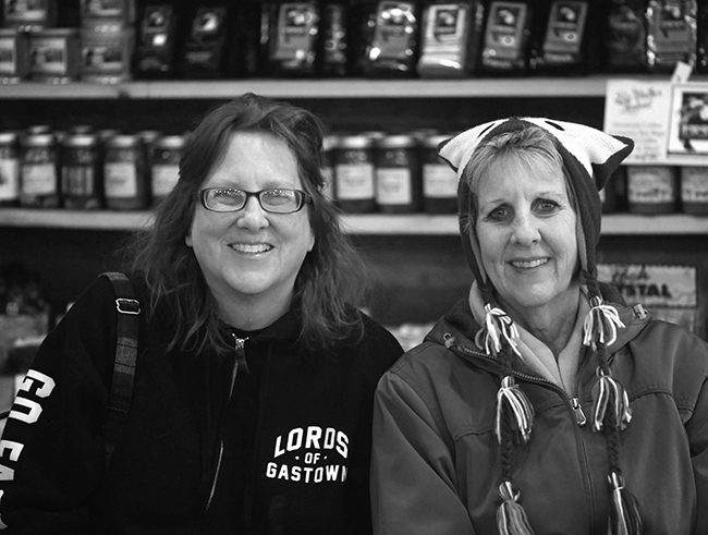 Kim and Leslie at Big Walker Lookout b and w
