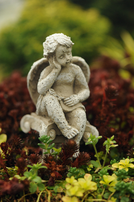 Angel in miniature garden vertical