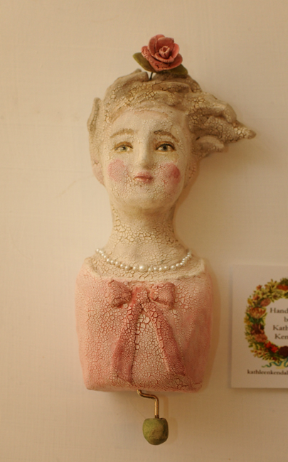 Music box ceramic bust by Kathleen Kendall