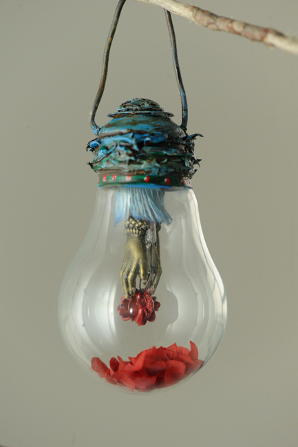 Christmas ornament light bulb rose