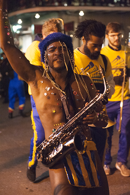 Sax player in Krewe parade