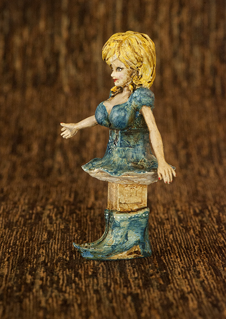 Altered Pez dispenser Dolly Parton side