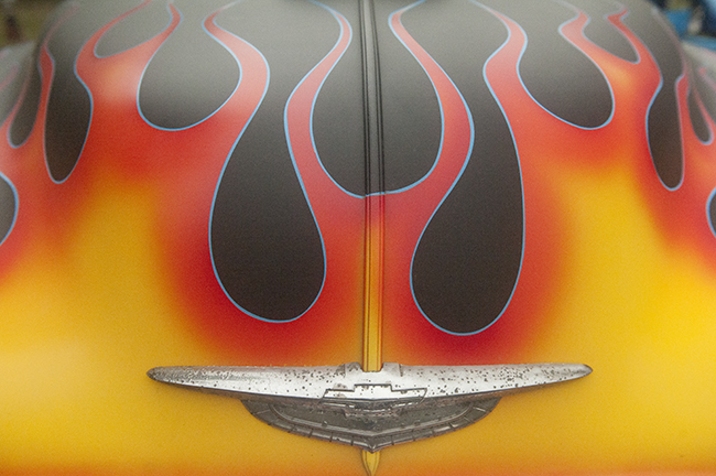 Flames painted on hood
