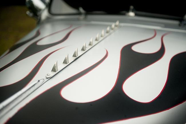 Black flames on car hood
