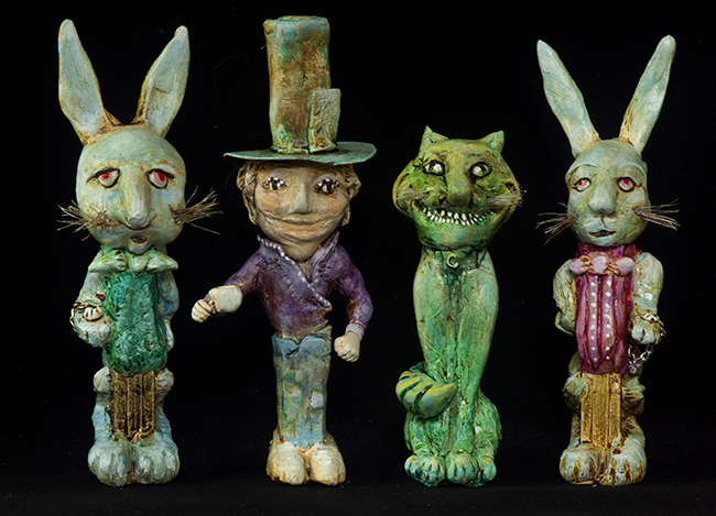 Altered Pez dispensers from Alice in Wonderland