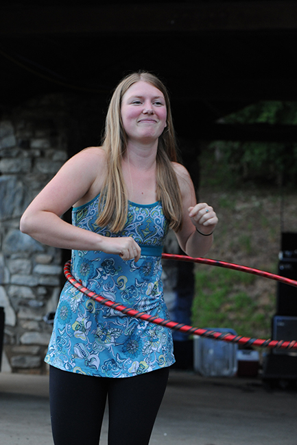 Scholarship winner with hula hoop