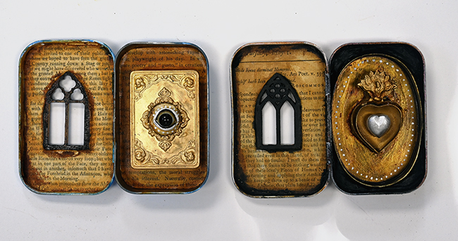 Assemblage altered Altoid Tins inside