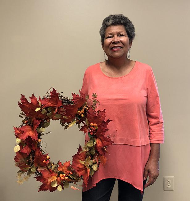 Alonita in wreath workshop
