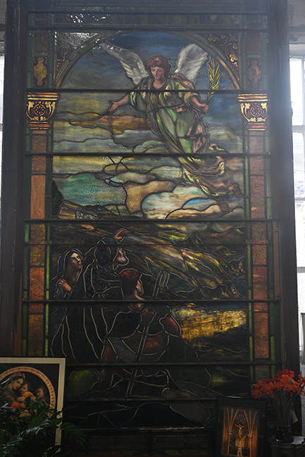 Stained glass window in Black Dog Salvage
