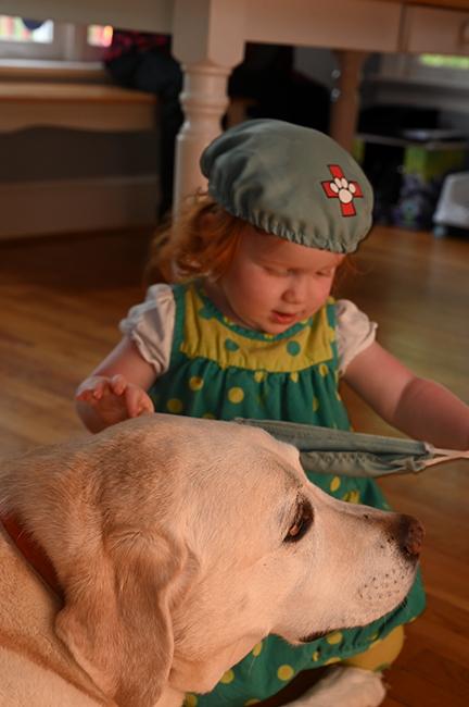 Grandchildren Junebug with Duke