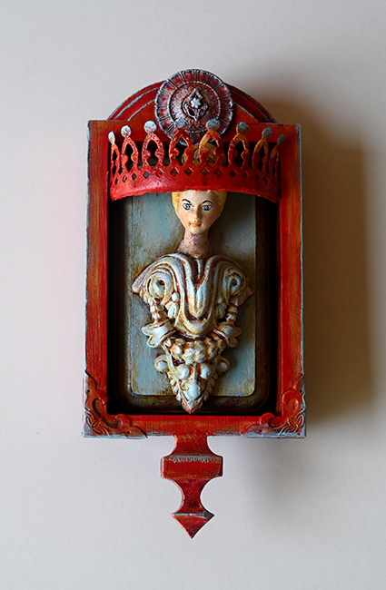 Assemblage 'Red Crown  Blue Gown'