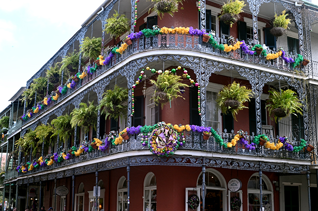 Decorated porches in New Orleans