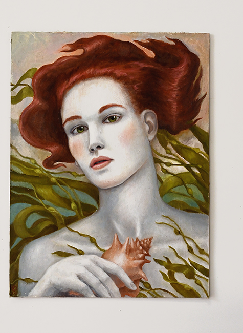 Kathleen Kendall painting mermaid with seaweed 1