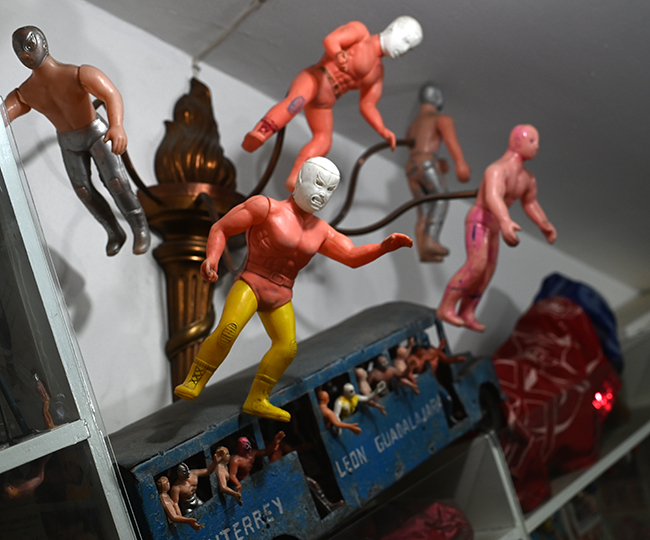 Luchadors in Mexico City toy museum