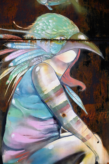 Bird girl street art
