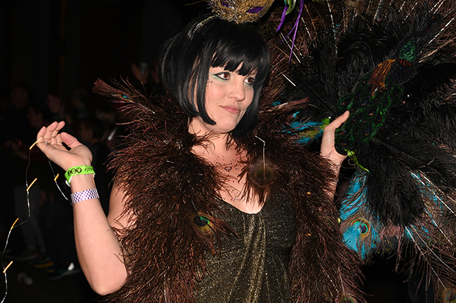 Krewe Boheme peacock feathers