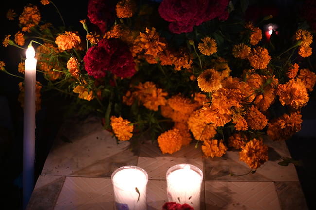 Marigolds and celosia at gravesite