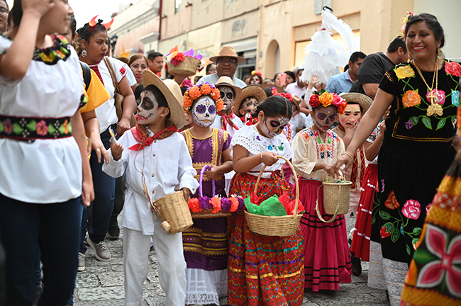 Children in parade with facepaint