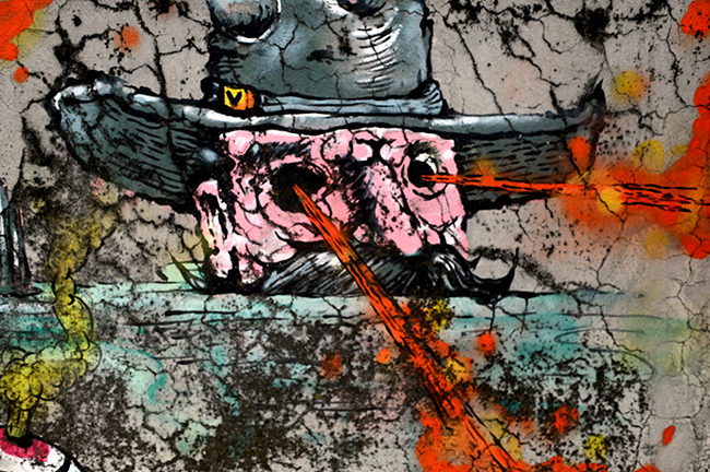 Cowboy with laser eyes street art