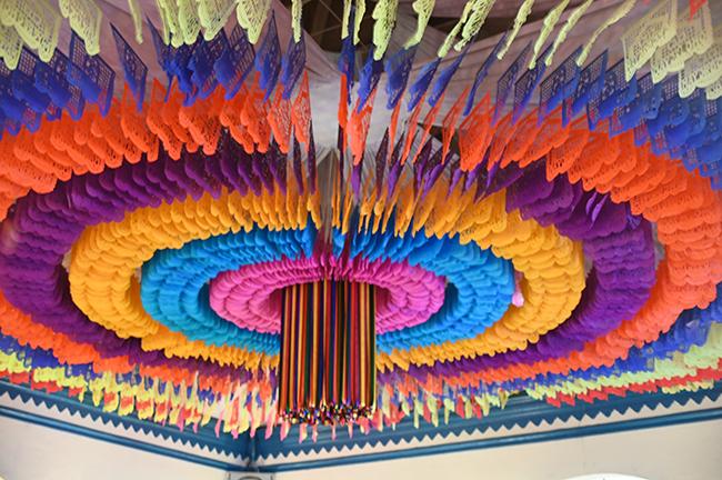 Papel picado decorations in restaurant in Oaxaca