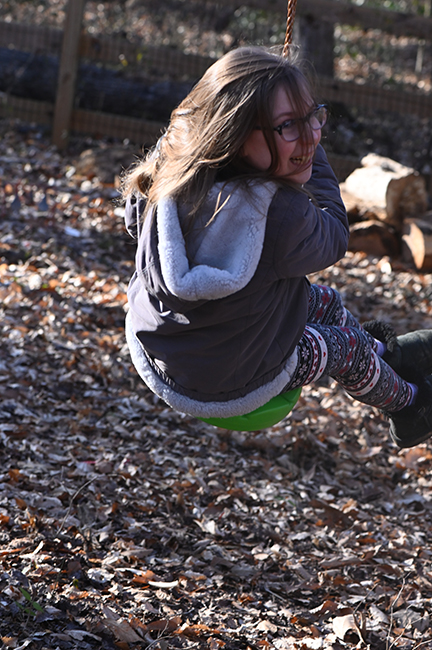 Felicity on zipline