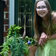 Felicity with her fairy gardens